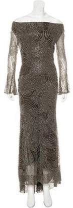 Naeem Khan Embellished Evening Gown Olive Embellished Evening Gown