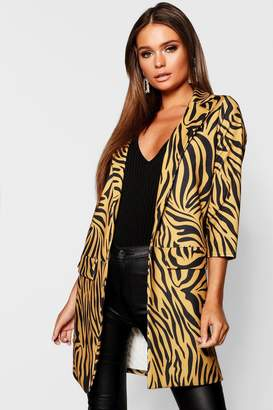 boohoo Zebra Print Collar Duster Jacket