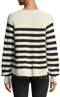 Veronica Beard Boyd Crewneck Striped Cotton Sweater