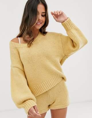 Zulu & Zephyr relaxed oversize knitted beach sweater in oatmeal