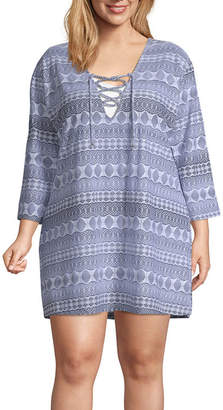 Porto Cruz Geometric Swimsuit Cover-Up Dress-Plus