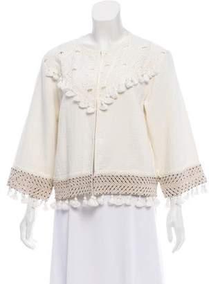 Rachel Zoe Tassel Embellished Long Sleeve Jacket