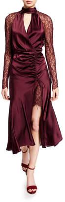 Jonathan Simkhai Mixed Lace Ruched-Front Keyhole Dress