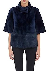 Barneys New York Women's Crop Shearling Jacket-Midnight Blue