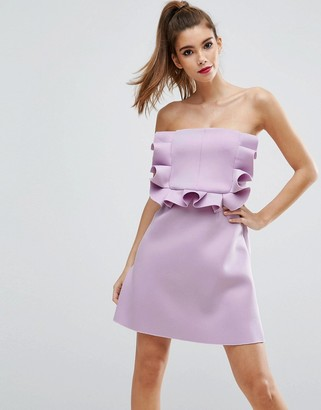 ASOS PREMIUM Frill Front Scuba Bandeau Mini Dress $87 thestylecure.com
