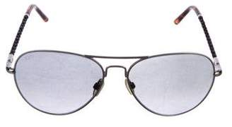 Tod's Aviator Leather-Trimmed Sunglasses