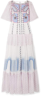 Temperley London Bourgeois Embroidered Point D'esprit And Silk-chiffon Maxi Dress - White