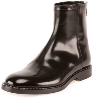 Maison Margiela Leather Back-Zip Ankle Boot, Black