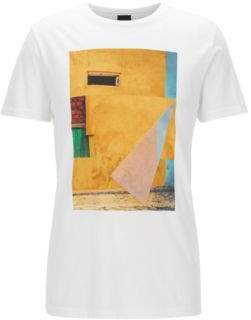 BOSS Hugo Cuba-Print Cotton Graphic T-Shirt Turbulent XXXL White