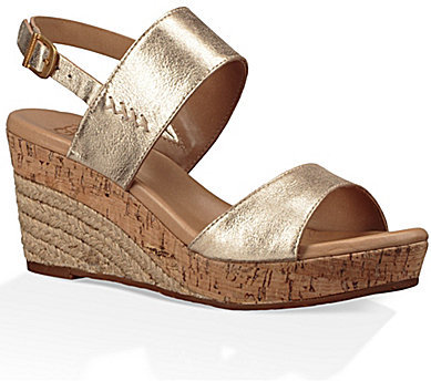 UGGUGG® Elena Gold Wedge Sandals