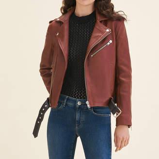 Maje Leather jacket with contrasting belt