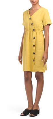 Made In Italy Linen Cinch Waist Dress