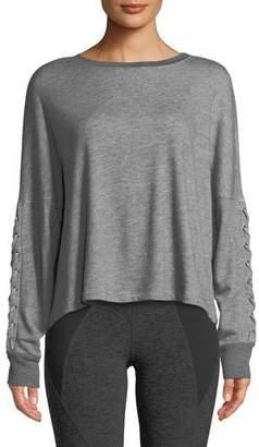 Beyond Yoga Lasso Lace-Up Draped Pullover Sweatshirt