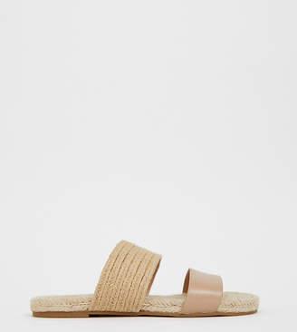 Asos Design DESIGN Wide Fit Jaylin leather espadrille mules