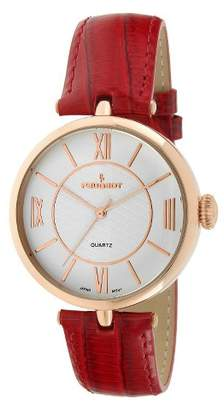 Peugeot Watches Large Dial Leather Strap Watch - Rose Gold & Red