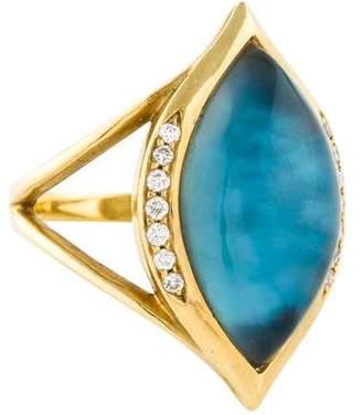 Elizabeth Showers 18K Topaz Doublet & Diamond Cocktail Ring
