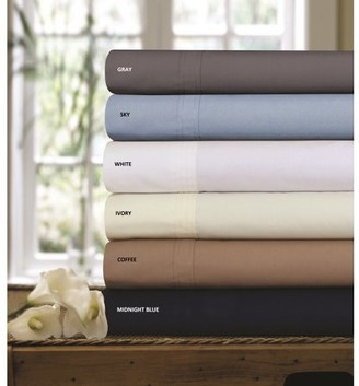 Tribeca Living 300 Thread Count Cotton Percale Solid Extra Deep Pocket Sheet Set