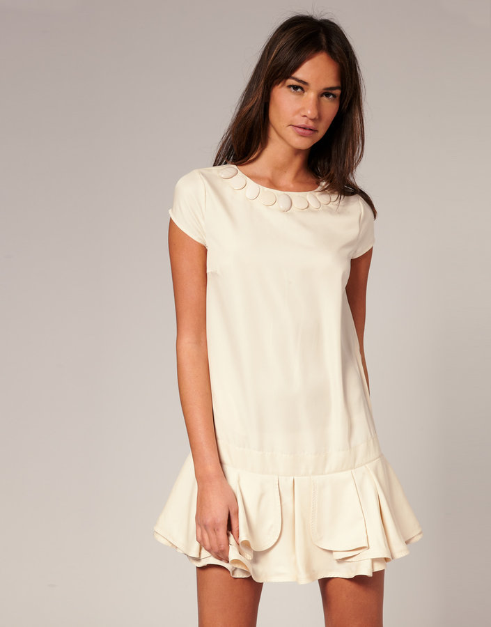 ASOS Drop-Waist Embellished Neck Dress