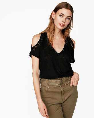 Express One Eleven Embellished Cold Shoulder London Tee