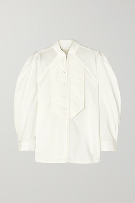 Chloé Pleated Cotton-poplin Blouse - White