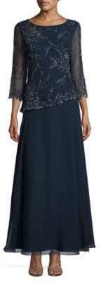 J Kara Beaded Floral A-Line Gown