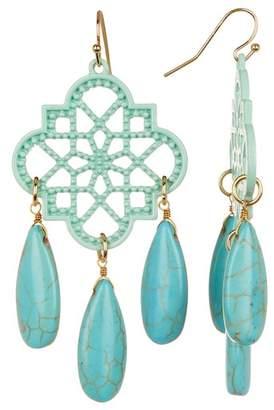 Panacea Textile Shape Turquoise Earrings