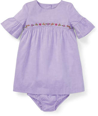 Ralph Lauren Woven Ruffle-Sleeve Embroidered Dress w/ Bloomers, Size 6-24 Months