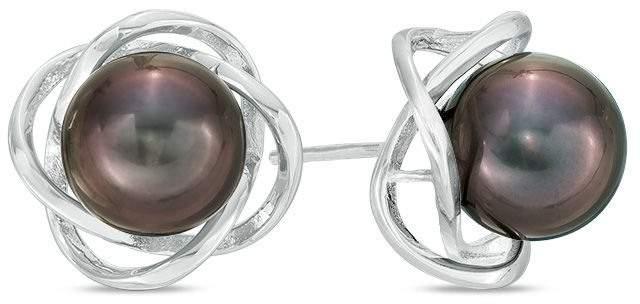 10.0-10.5mm Black Cultured Tahitian Pearl Orbit Frame Stud Earrings in Sterling Silver