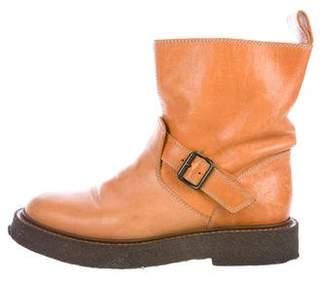 Maison Margiela Round-Toe Leather Ankle Boots