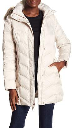 Kenneth Cole New York Chevron Down Faux Fur Trimmed Coat