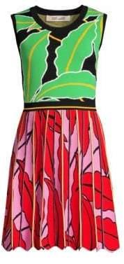 Diane von Furstenberg Women's Parker Lurex-Knit Leaf A-Line Dress - Vetiver Multi - Size XXS