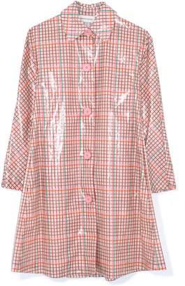 Mansur Gavriel Laminated Cotton Check Coat in Pink Multi