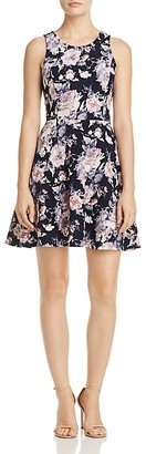 AQUA Textured Floral Print Fit-and-Flare Dress - 100% Exclusive $78 thestylecure.com