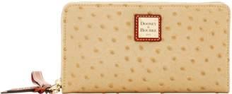 Dooney & Bourke Ostrich Large Zip Around Wristlet