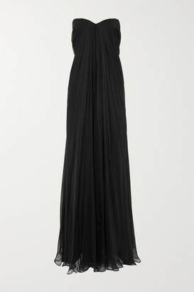 Alexander McQueen Silk-chiffon Bustier Gown - Black