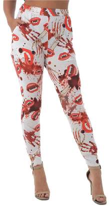Forever New Forever Womens Halloween Horror Skull Night Mood printed Stretchy Fitted Leggings Molly White Teeth Pocket Harem Pant Small/ Medium