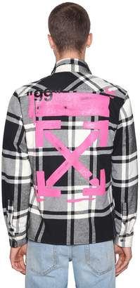 Off-White Fuchsia Stencil Cotton Flannel Shirt