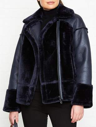 Whistles Faux Fur Biker Jacket