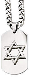 "Forza Men's Stainless Steel 24"" Star of David D og Tag Necklac"