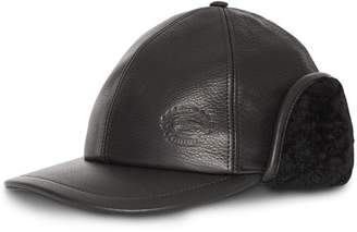 Burberry Shearling and Leather Baseball Cap c4b045400cd7