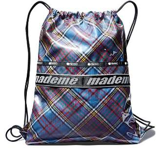 Le Sport Sac x Made Me Plaid Fabric Drawstring Backpack
