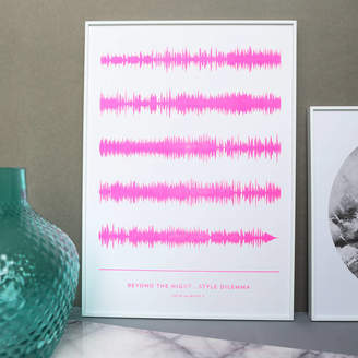 YVE PRINT CO. Stencil Printed Favourite Song Soundwave Print