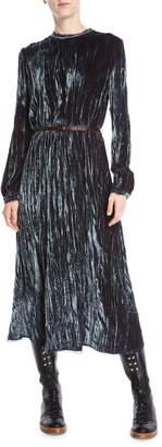 Gabriela Hearst Dina Long-Sleeve Crushed Velvet Long Dress