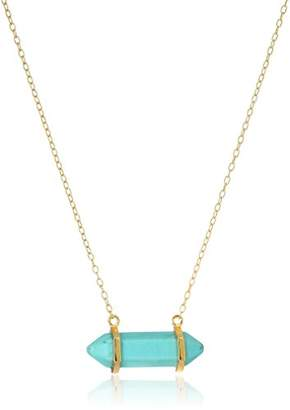 18k Gold Plated Sterling Silver Genuine Dyed Turquoise Howlite Horizontal Chakra Point Necklace