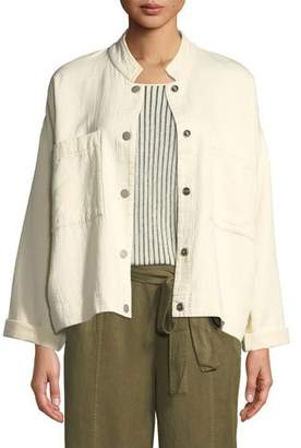 Eileen Fisher Mandarin Collar Snap-Front Channel Jacket, Petite