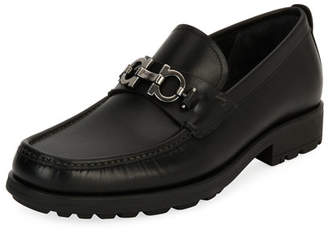 Salvatore FerragamoMen's Grimes Suede Loafers with Rubber Lug Sole 9s6n1B