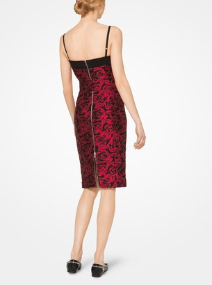 Michael Kors Rose Silk Jacquard Sheath Dress
