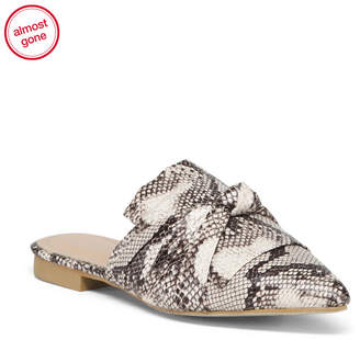Snake Print Knotted Pointy Toe Mules