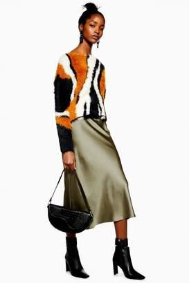 Topshop Satin Bias Midi Skirt