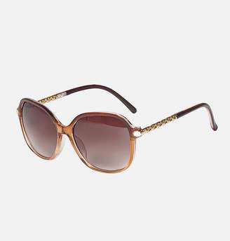 Avenue Cannes Filigree Stem Sunglasses in Brown